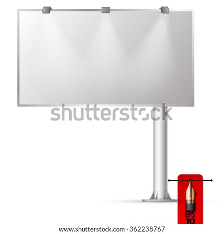 Vector blank road billboard advertising panel with light.  - stock vector