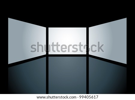 vector blank screens are holes on black surface and you can easily put your images in bottom layer - stock vector
