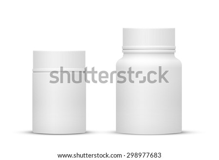 Vector Blank Small and Medium Sizes Plastic Packaging Bottles with Cap for Cosmetics, Vitamins, Pills or Capsules - stock vector