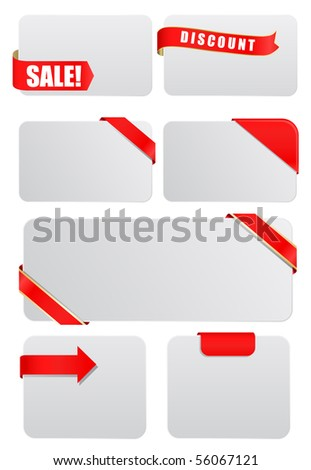 vector blank tags with ribbons - stock vector