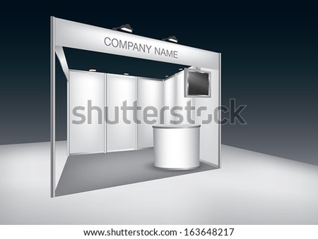 Vector Blank trade exhibition stand with LED panel - stock vector