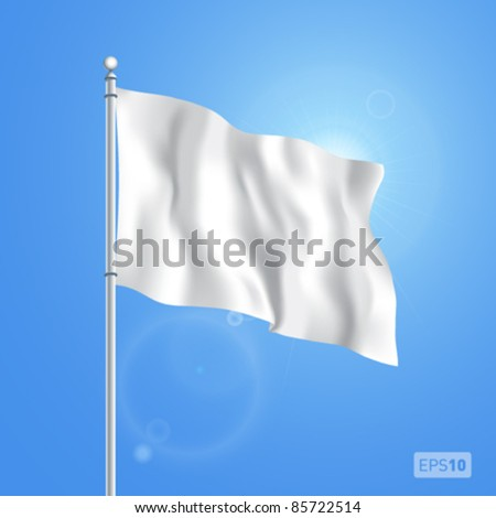 Vector blank white flying flag on a clear sky for designers. EPS 10. - stock vector