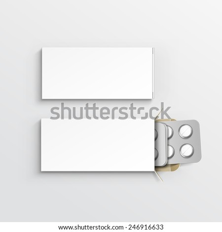 Vector Blank White Package Box for Blister of Pills Isolated on Background - stock vector