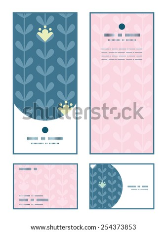 Vector blloming vines stripes vertical frame pattern invitation greeting, RSVP and thank you cards set - stock vector