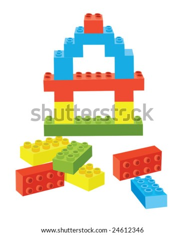 Vector blocks with blue, yellow, green and red blocks - stock vector