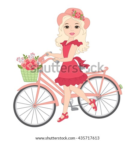 Vector Blond Girl with Bicycle  - stock vector