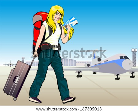 vector blonde young girl traveler with tickets and backpack and travel suitcase at airport - stock vector