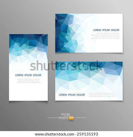vector blue abstract business card templates  - stock vector
