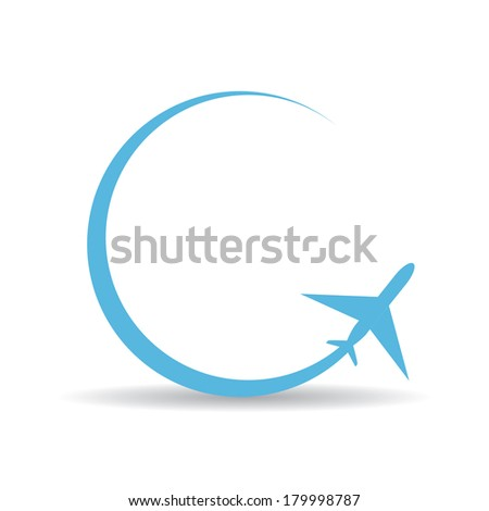 vector blue airplane icon on white background. vector airplane silhouette - stock vector