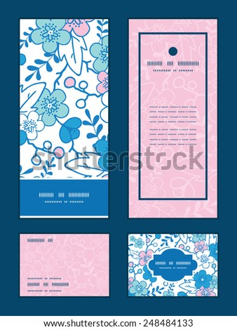 Vector blue and pink kimono blossoms vertical frame pattern invitation greeting, RSVP and thank you cards set - stock vector