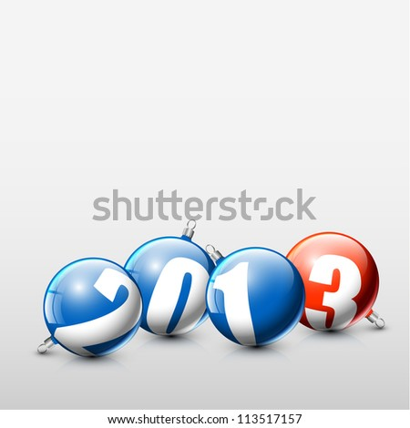 Vector blue and red Christmas realistic baubles with the numbers of new year 2013 - stock vector
