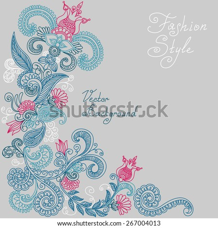 vector blue and red floral pattern of spirals, swirls, doodles - stock vector