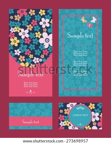 Vector blue and red line art flowers vertical frame pattern invitation greeting and thank you cards set - stock vector