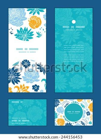 Vector blue and yellow flowersilhouettes vertical frame pattern invitation greeting, RSVP and thank you cards set - stock vector