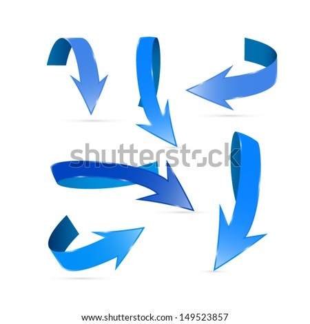 Vector Blue Arrows Set Isolated on White Background  - stock vector