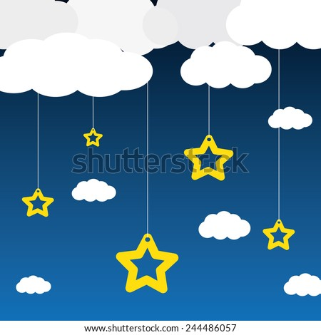 Vector blue background with clouds, and the stars - stock vector