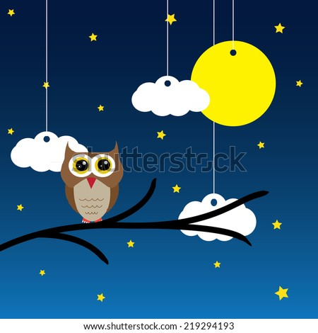Vector blue background with clouds, Owl, the new moon and the stars - stock vector