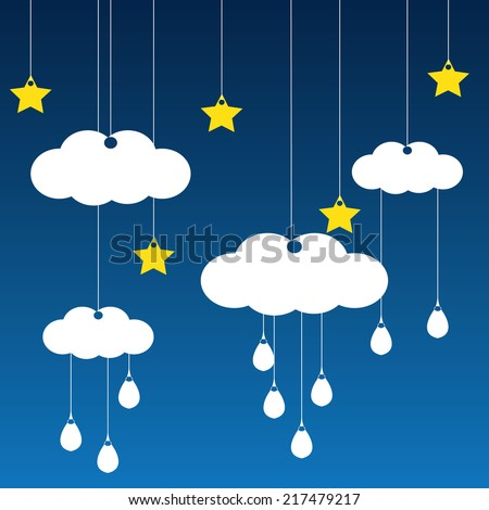 Vector blue background with clouds, rain and the stars - stock vector