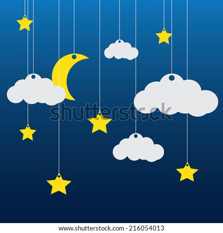 Vector blue background with clouds, the new moon and the stars - stock vector