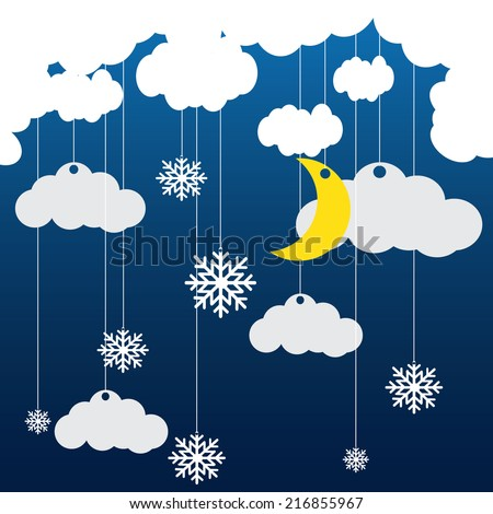 Vector blue background with hanging clouds, moon, stars and snowflakes/ christmas card - stock vector