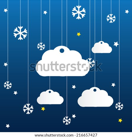 Vector blue background with hanging clouds, stars and snowflakes/ christmas card - stock vector