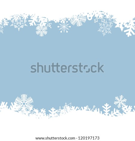 Vector blue background with snowflakes. - stock vector