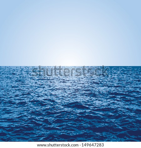 vector blue background with sunset over the ocean - stock vector