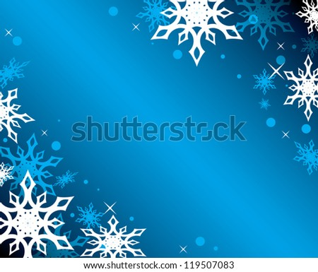 vector blue background with white snowflakes - eps 10 - stock vector