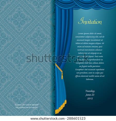 vector blue baroque invitation card with curtain - stock vector