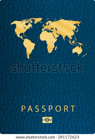 vector blue biometric leather cover passport - stock vector