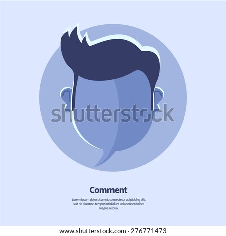 Vector blue blank speech bubble and head shape with hipster hairstyle. May use as comment icon, status icon or social media banner template. - stock vector