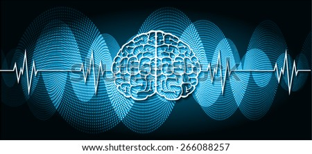 vector blue brain processes technology, creative idea concept. wave - stock vector