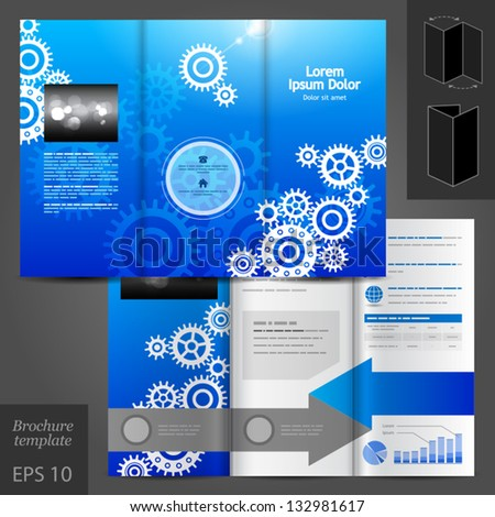Vector blue brochure template design with cogwheels. EPS 10 - stock vector