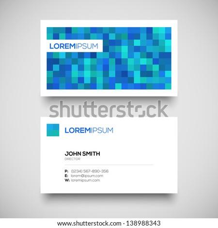 Vector blue business card set - stock vector