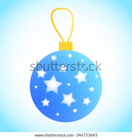 Vector Blue Christmas ornament decorated with stars and loop on top. Shiny XMas bauble. Classic New Year decoration. Fir tree ball. Christmas tree bauble with stars. Light blue XMas bauble. - stock vector