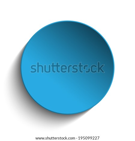 Vector - Blue Circle Button on White Background - stock vector