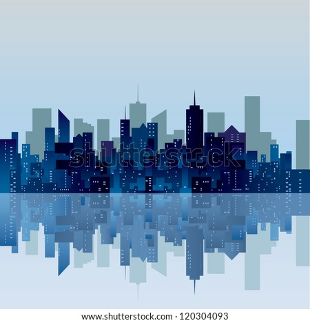 vector blue city silhouette - stock vector