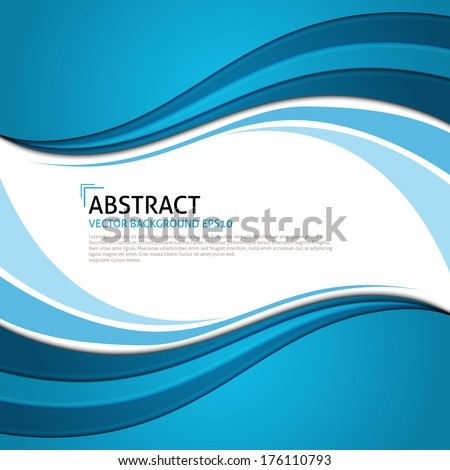 Vector blue curves background. Frame for text. - stock vector