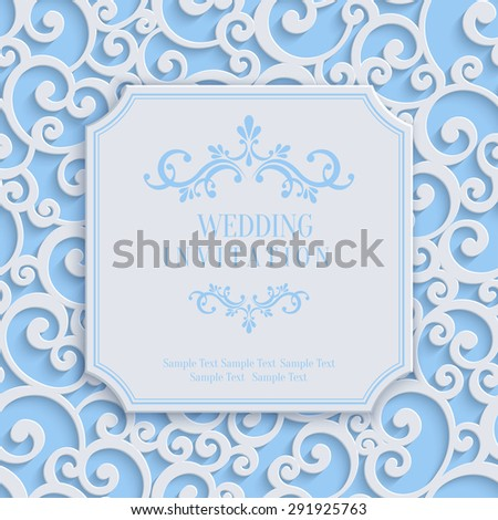 Vector Blue 3d Curl Wedding or Invitation or Greeting Card with Damask Floral Swirl Pattern  - stock vector