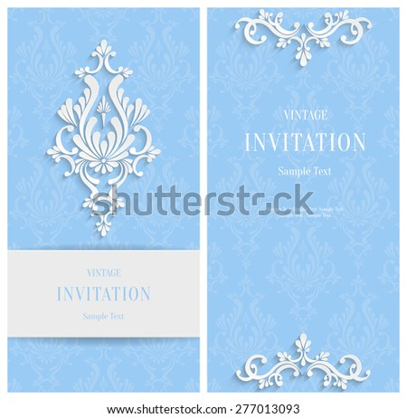 Vector Blue 3d Floral Vertical Cards Set, Christmas and Invitation Template  - stock vector