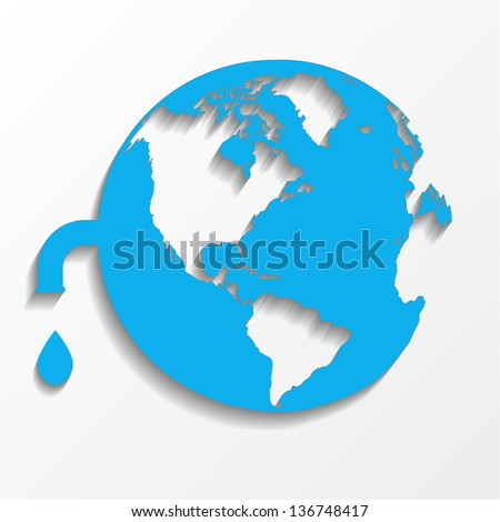 Vector blue earth globe with drop of water. - stock vector