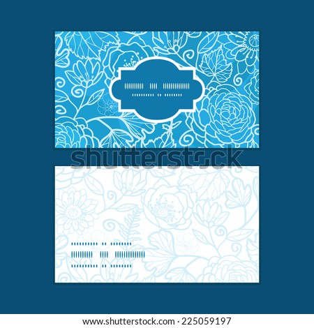 Vector blue field floral texture horizontal frame pattern business cards set - stock vector