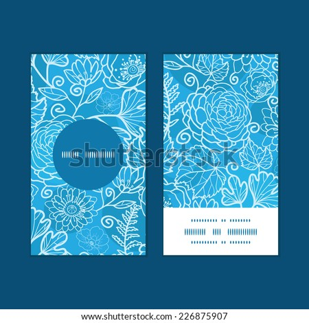 Vector blue field floral texture vertical round frame pattern business cards set - stock vector