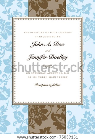 Vector Blue Floral and Striped Pattern and Frame. Easy to edit. Perfect for invitations or announcements. - stock vector