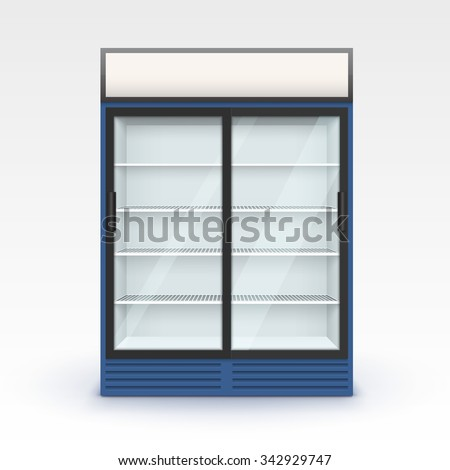 Vector Blue Fridge Refrigerator Freezer With Transparent Glass Isolated on White Background - stock vector