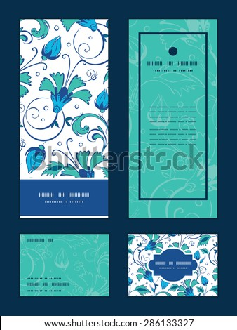 Vector blue green swirly flowers vertical frame pattern invitation greeting, RSVP and thank you cards set - stock vector