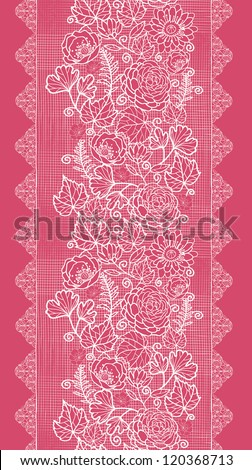 Vector Blue lace flowers elegant vertical seamless pattern background ornament with hand drawn line art floral elements. - stock vector