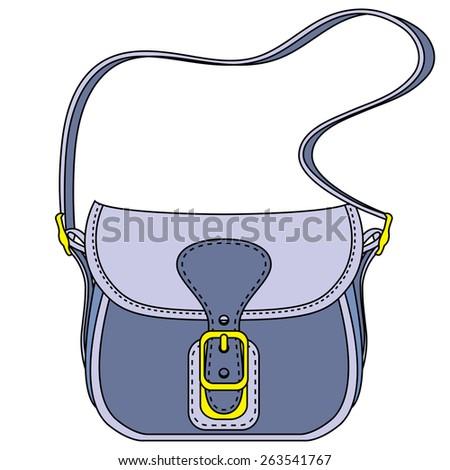 Vector blue ladies handbag on a white background - stock vector