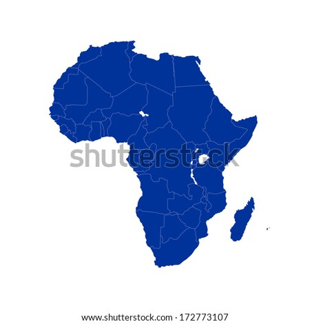 Vector blue map of Africa isolated on white background. Africa-highly detailed map.All elements are separated in editable layers clearly labeled. - stock vector