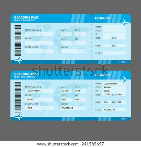 Vector Blue Modern Airline boarding pass tickets isolated on white - stock vector